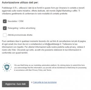 gpdr mailchimp lead generation privacy normativa europea dati personali